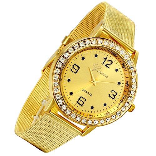 lancardo Luxus Edelstahl Milanaise Loop Woven Mesh Band Kristall Strass Luenette Armbanduhr Gold 2