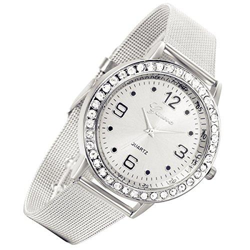 lancardo Luxus Edelstahl Milanaise Loop Woven Mesh Band Kristall Strass Luenette Armbanduhr Silber