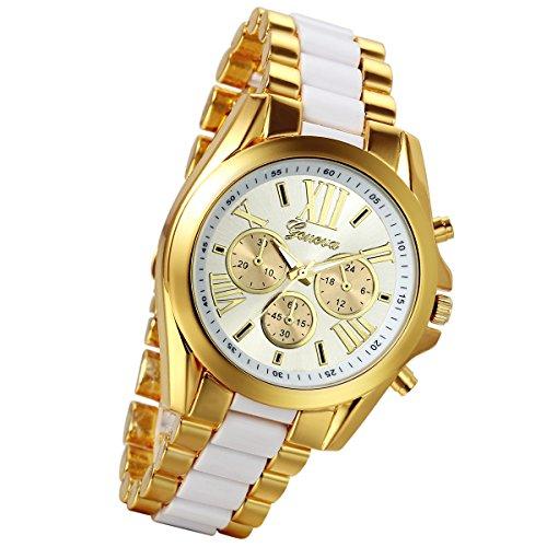 lancardo Luxus Herren Edelstahl Gold Zifferblatt Quarz Analog Armreif Armbanduhr mit 3 Zifferblaetter zur weiss