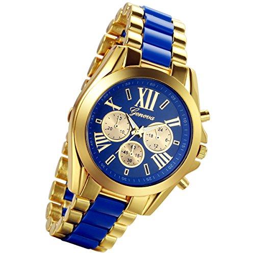 lancardo Luxus Herren Edelstahl Gold Zifferblatt Quarz Analog Armreif Armbanduhr mit 3 Zifferblaetter zur blau
