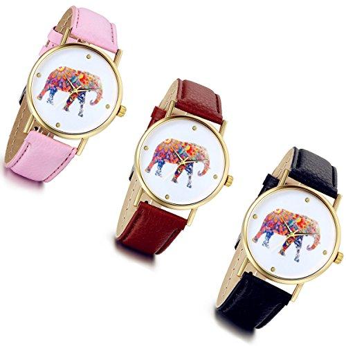 lancardo Frauen Elefant Muster PU Leder Band Armband Quarz Zifferblatt Armbanduhr Geschenk Pack von 3
