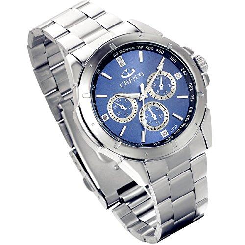 Lancardo Herren Armbanduhr Edelstahl mit 3 kleinen Zifferblaettern Blau