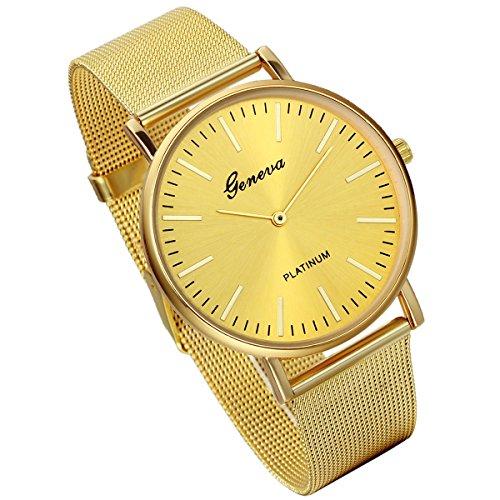 lancardo Luxus Herren Quarz Armbanduhr mit Milanaise Woven Loop Edelstahl Mesh Band Gold