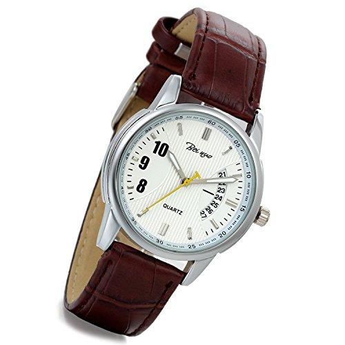 lancardo Herren Krokodil Muster Leder Armbanduhr mit Kalender braun 2