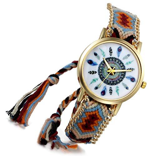 lancardo indischen Vintage Verstellbarer gewebter Schulterriemen Armband Armbanduhr Adler Wappen Feder Gold Ton B 2