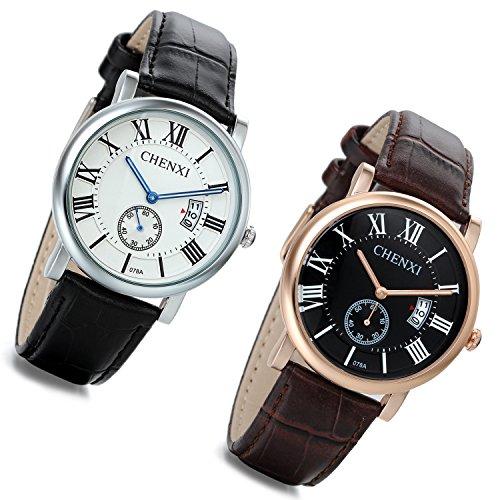 lancardo Herren Echtes Leder Band Japanisches Uhrwerk Chronograph mit Kalender 2