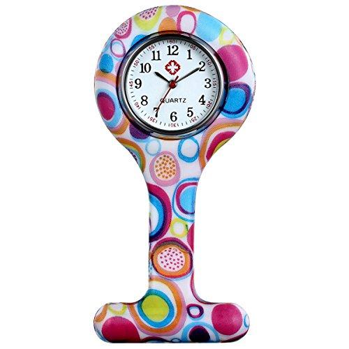 lancardo Uhren Krankenschwester Armbanduhr FOB Uhr Damen Taschenuhr Analog Quarzuhr aus Silikon Mehrfarbig