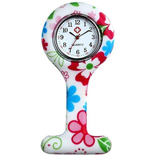 lancardo Uhren Krankenschwester Armbanduhr FOB Uhr Damen Taschenuhr Analog Quarzuhr aus Silikon Rose Rot