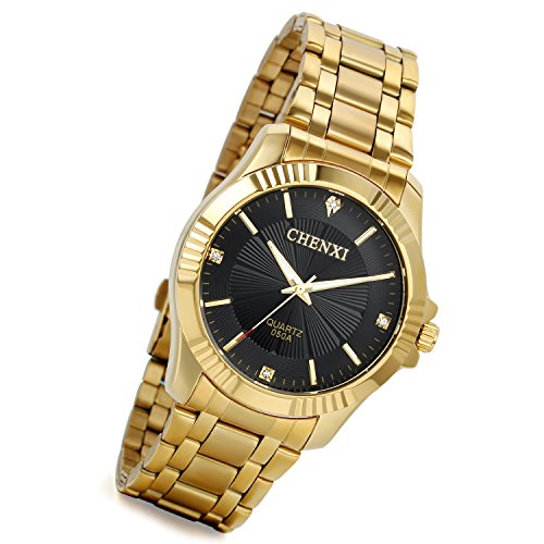lancardo Herren Luxus Bright Gold Ton Kristall akzentuierten bodenstehend 3 Zifferblaetter zur