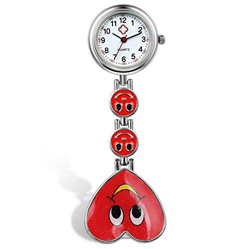 lancardo Candy Farbe Laecheln Herz Gesicht Krankenschwester Clip Watch Medical Revers Pocket Schliesse Watch rot