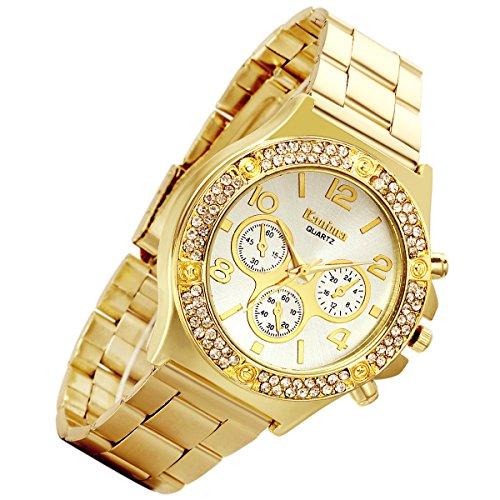 lancardo Luxus Bling doppelt Daul Strass Luenette Gold Ton Gold