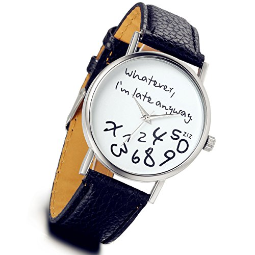 lancardo Jungen Maedchen Handgelenk Uhren Quarz Analog Cartoon Kinder Nr Fall Lederband Armbanduhr schwarz