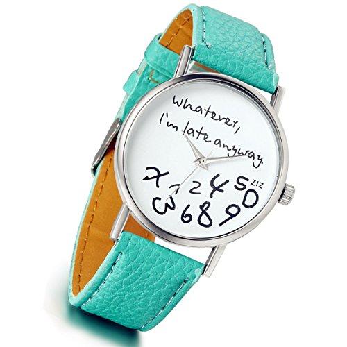 lancardo Frauen Maedchen mint gruen Polymer PU Lederband ursaechliche Armbanduhr gruen