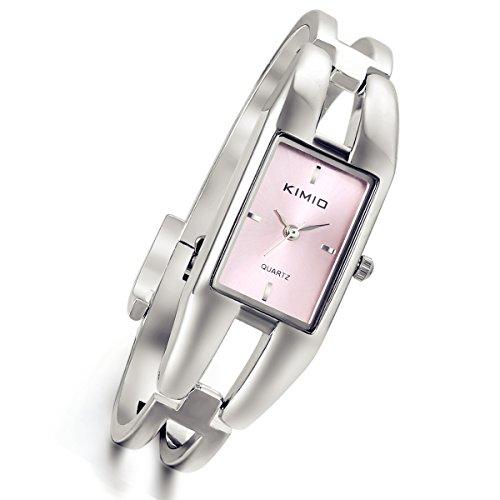 lancardo Vintage Damen Tide Manschette Angel diamond accented Manschette Armband Rechteck Armbanduhr Pink