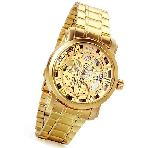 lancardo Gold Ton Skelett Mechanische Mann Armbanduhr mit Transparent Case Rueckseite