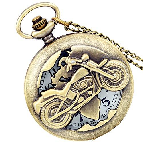 lancardo Antik Messing Tone Motorradhelm Hohl Skelett Fall Military Zeit Taschenuhr mit Kette