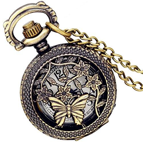 lancardo Antik Messing Tone Schmetterling Hohl Skelett Fall Military Zeit Taschenuhr mit Kette 2