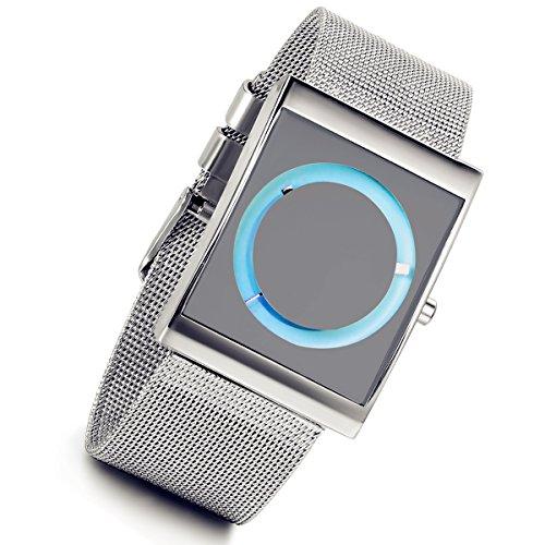 lancardo poliert Silber Armreif mit Schwarz Spiegel Dial Analog Display Herren blau
