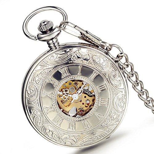 lancardo Fashion roemischen Zahl Carve Skelett Cover mit Skelett Zifferblatt Gold Ton Bewegungen Pocket Taschenuhr mit Kette Silber