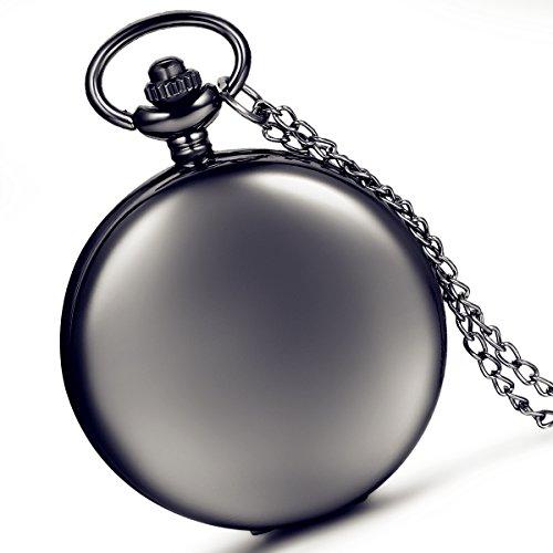 lancardo glatt Metall schwarz Fall Weiss Zifferblatt arabische Ziffern Moderne Taschenuhr mit Kette schwarz