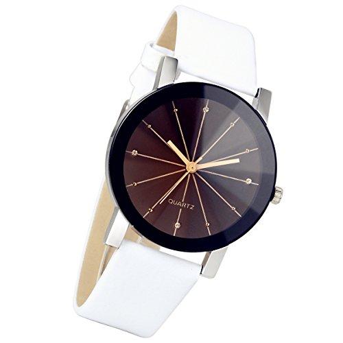 lancardo Herren Schwarz runden Zifferblatt Uhr Lederband Quarz Armbanduhr weiss