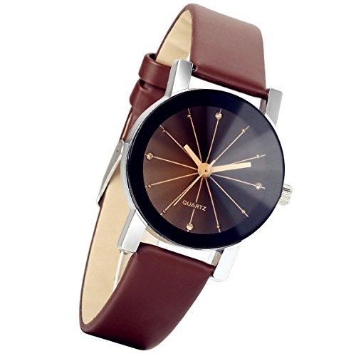lancardo Damen schwarz runden Zifferblatt Uhr Lederband braun