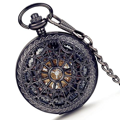 lancardo Retro Taschenuhr Herren Unisex Quarz Skelett Uhr mit Halskette Kette uhr Pocket Watch Weinachtsgeschenk Schwarz