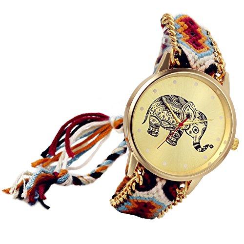 lancardo Thailand Vintage Verstellbarer gewebter Schulterriemen Armband Uhr mit Elefant Gold Ton Teller