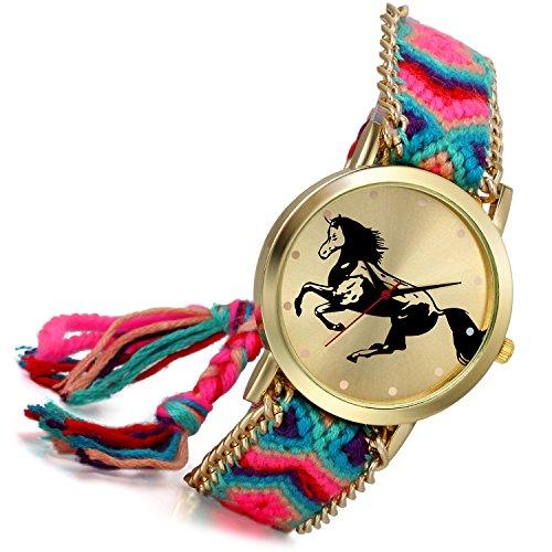 lancardo Thailand Vintage Verstellbarer gewebter Schulterriemen Armband Uhr mit Pferd gold Ton Teller Zifferblatt A