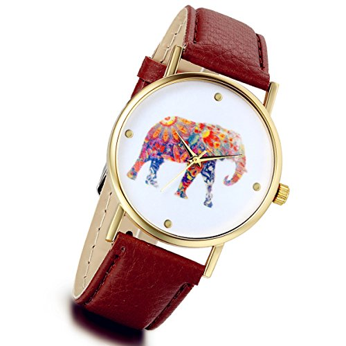 lancardo Retro Vintage Frauen duenn Elefant Tier Gold Leder Quarz Kleid Zubehoer Kaffee