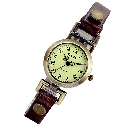 lancardo Retro Vintage Damen Georgien Echt Leder Band Armband 24h Military Zeit Uhr braun
