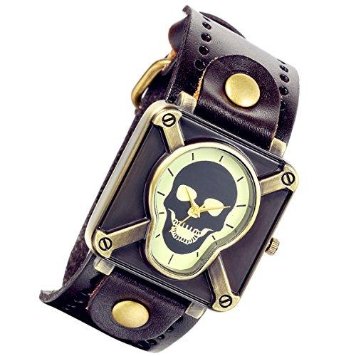 lancardo Vintage Steam Punk Gothic Kruzifix Skull Leder Unisex Herren Damen Armbanduhr braun