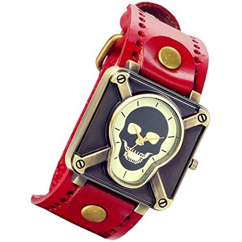 lancardo Vintage Steam Punk Gothic Kruzifix Skull Leder Unisex Herren Damen Armbanduhr rot