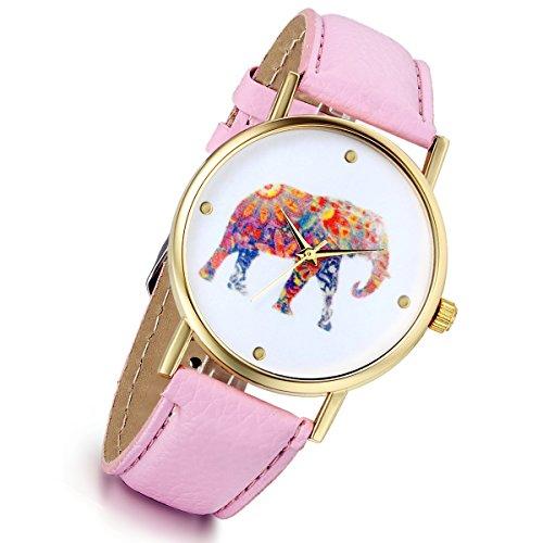lancardo Vintage Damen Maedchen Damen Tribe Elefant Muster Quarz Vogue Handgelenk Uhren Pink
