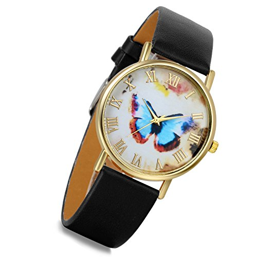 lancardo Retro Vintage Gold Tone Fall Schwarz Leder Band Blau Schmetterling Zifferblatt Roemisch Marker Armbanduhr