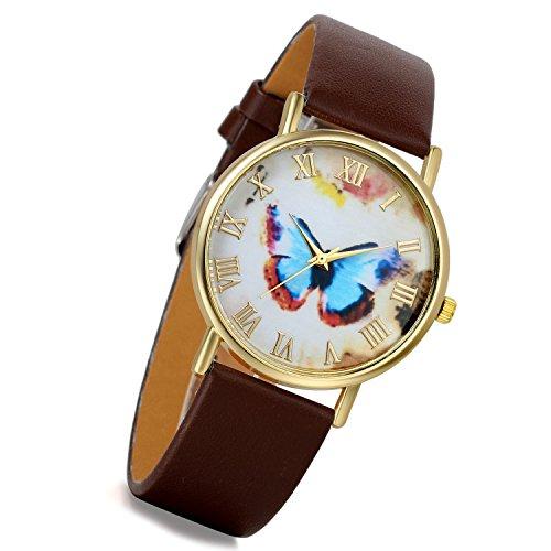 lancardo Retro Vintage Gold Tone Fall Braun Leder Band Blau Schmetterling Zifferblatt Roemisch Marker Uhr 2