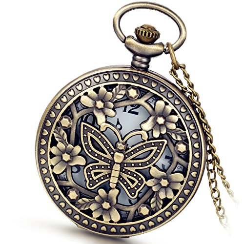 lancardo Cool Vintage hohl Out Skelett Schmetterling Pocket Taschenuhr mit Kette