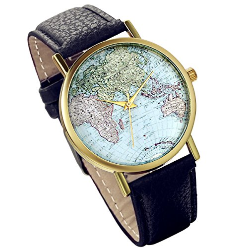 lancardo Herren Weltkarte Zifferblatt Gold Ton Luenette Armbanduhr mit Litschi Leder Band schwarz