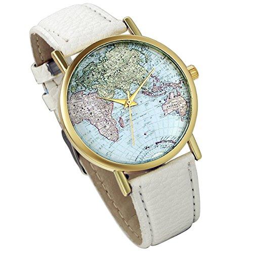 lancardo Herren Weltkarte Zifferblatt Gold Ton Luenette Armbanduhr mit Litschi Leder Band weiss