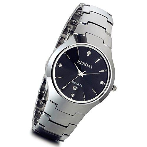 lancardo Luxus Wolfram Stahl Herren Bling Strass Uhren mit Kalender