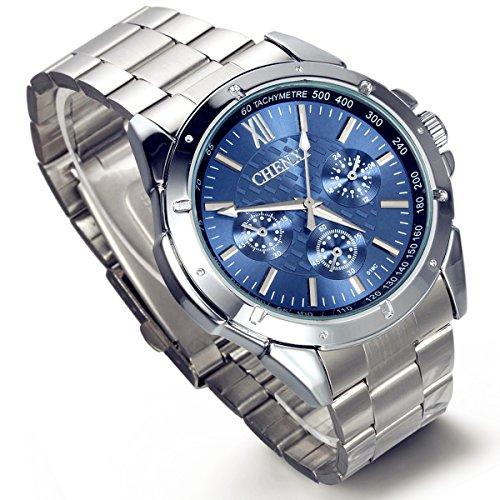 lancardo Quarz blau Zifferblatt Link Armband Hand Armbanduhr fuer Herren Jungen Geburtstag mit Geschenk Tuete
