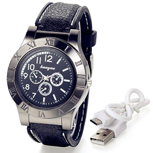 lancardo Neuheit Digital USB Zigarettenanzuender Herren Uhren mit 3 Zifferblaetter zur winddicht Flame Feuerzeug schwarz