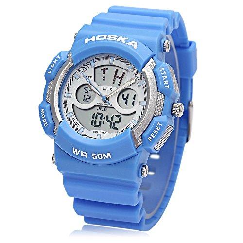 Leopard Shop hoska h004s Digital Quarz Kinder Sport Armbanduhr doppelte Movt Armbanduhr Chronograph Kalender Alarm EL Hintergrundbeleuchtung 50 m Wasser Widerstand blau