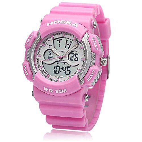 Leopard Shop hoska h004s Digital Quarz Kinder Sport Armbanduhr doppelte Movt Armbanduhr Chronograph Kalender Alarm EL Hintergrundbeleuchtung 50 m Wasser Widerstand Pink