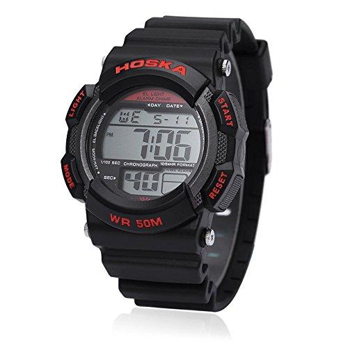 Leopard Shop hoska H007B Digital Kinder Sport Armbanduhr EL Hintergrundbeleuchtung Chronograph Kalender Alarm Armbanduhr Wasser Widerstand rot schwarz