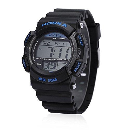 Leopard Shop hoska H007B Digital Kinder Sport Armbanduhr EL Hintergrundbeleuchtung Chronograph Kalender Alarm Armbanduhr Wasser Widerstand blau schwarz