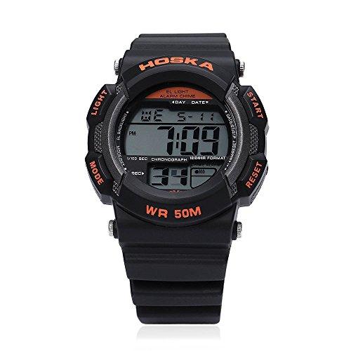 Leopard Shop hoska H007B Digital Kinder Sport Armbanduhr EL Hintergrundbeleuchtung Chronograph Kalender Alarm Armbanduhr Wasser Widerstand schwarz orange