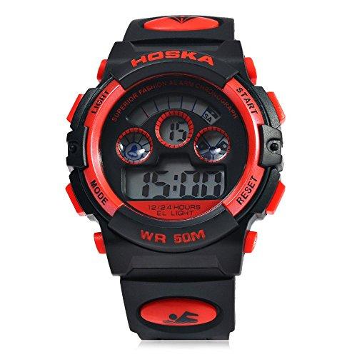 Leopard Shop hoska H001B Kinder Sport Armbanduhr LED Tag Chronograph Wasser Widerstand rot schwarz