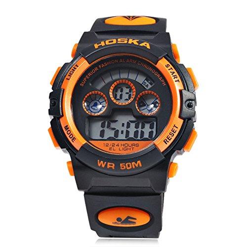 Leopard Shop hoska H001B Kinder Sport Armbanduhr LED Tag Chronograph Wasser Widerstand schwarz orange