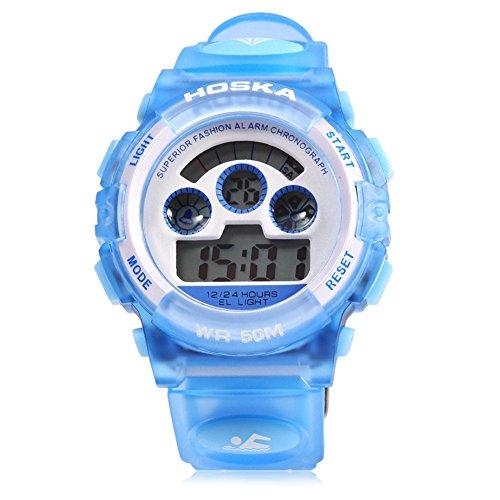 Leopard Shop hoska H001B Kinder Sport Armbanduhr LED Tag Chronograph Wasser Widerstand blau